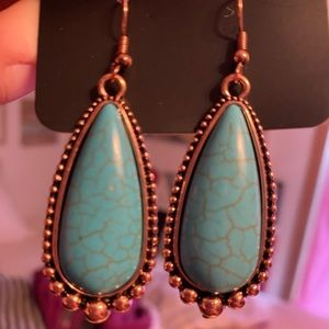 Rose Gold and Turquoise Earrings